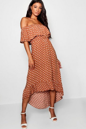 Womens Chocolate Woven Polka Dot Print Bardot Maxi Dress