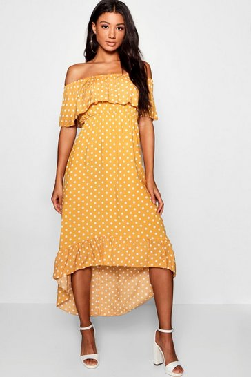 Womens Mustard Woven Polka Dot Print Bardot Maxi Dress