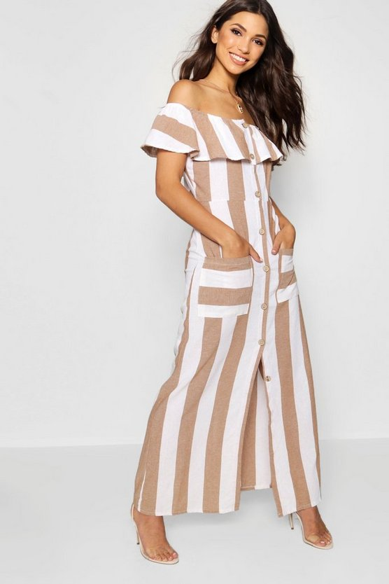 Bardot Button Through Stripe Linen Maxi Dress