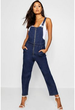 Womens Dark blue O Ring Zip Denim Dungaree