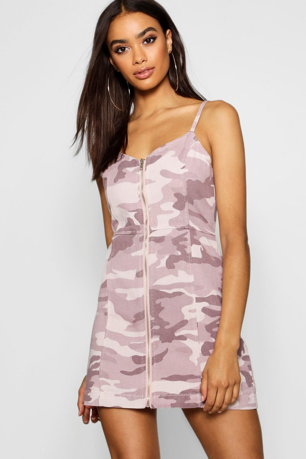 3c1a898451398 Camo Zip Front Strappy Denim Dress | Boohoo