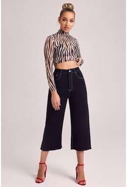 High Rise Contrast Stitch Crop Wide Leg Jeans, Black, Donna