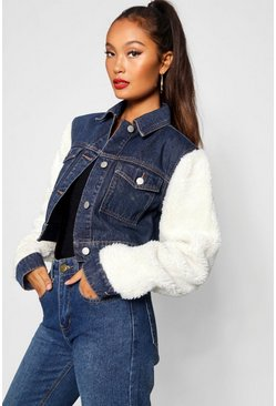 Womens Dark blue Teddy Sleeve Denim Jacket
