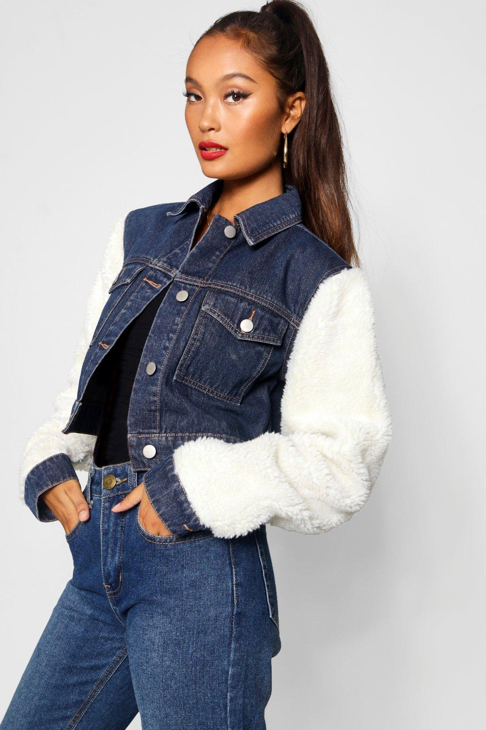 top-rated official casual shoes elegant shape Teddy Sleeve Denim Jacket | Boohoo
