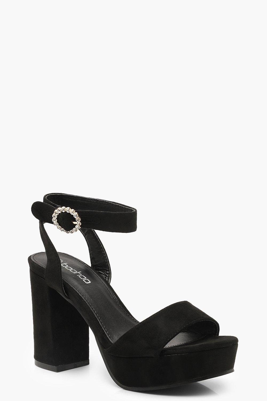 Diamante Buckle Peeptoe Platform Heels