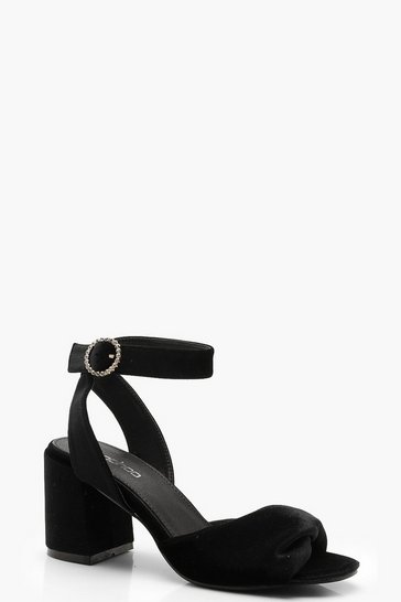 Womens Black Twist Front Diamante Buckle Block Heels