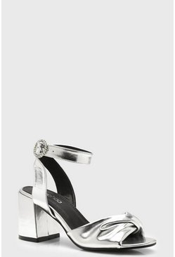 Womens Silver Twist Front Diamante Buckle Block Heels