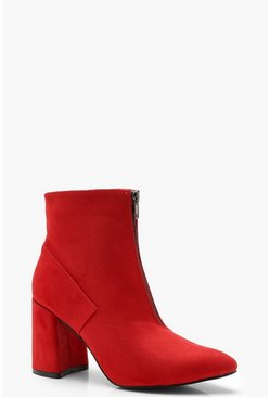 Womens Red Zip Front Block Heel Shoe Boots