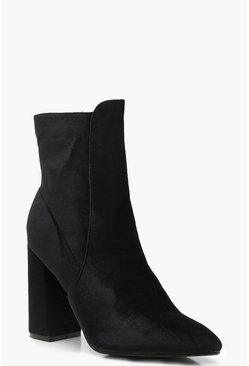 Womens Black Velvet Block Heel Shoe Boots