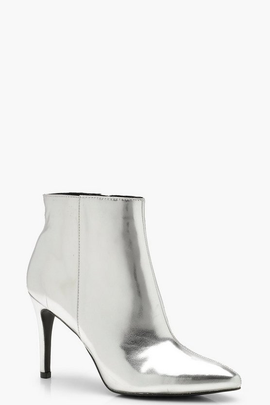 Womens Silver Mirror Metallic Pointed Shoe Boots