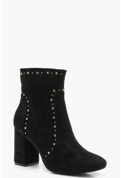 Womens Black Block Heel Pin Stud Shoe Boots