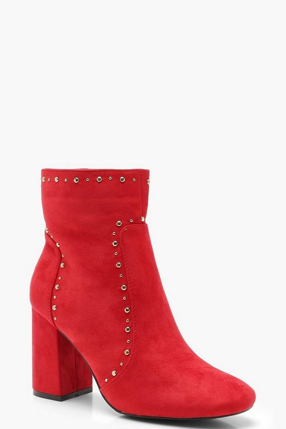 Womens Red Block Heel Pin Stud Shoe Boots