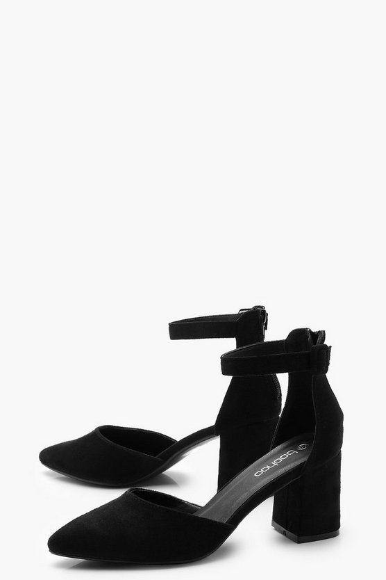 Pointed Block Heel Ballets