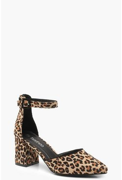 Womens Leopard Print Pointed Low Block Heel Ballets