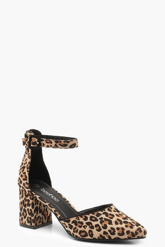 Leopard Print Pointed Low Block Heel Ballets