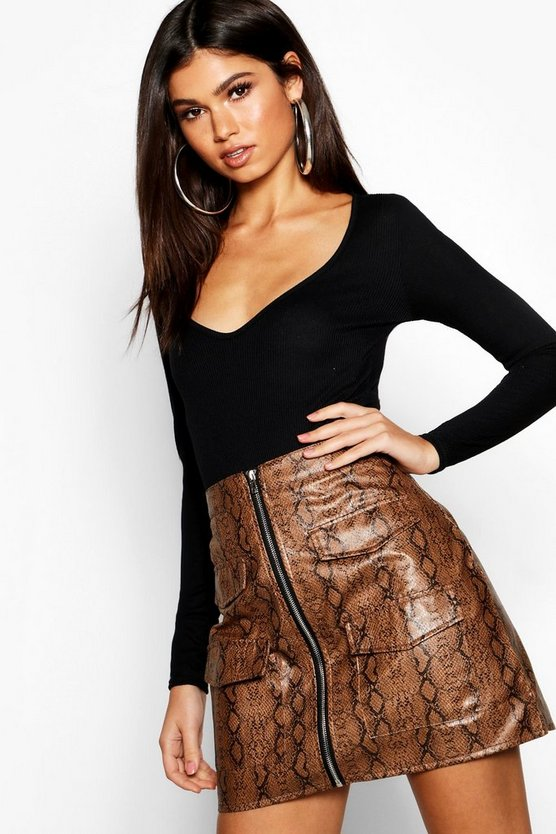 Chocolate Snake Print Leather Look A Line Mini Skirt