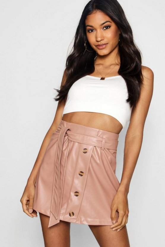 Woven Faux Leather Mock Horn Button Skirt