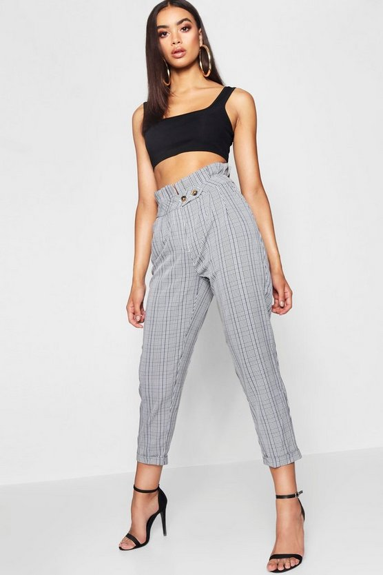 Woven Mono Checked High Waisted Pants