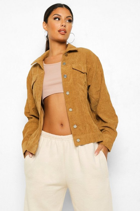 Womens Tan Oversize Cord Jacket