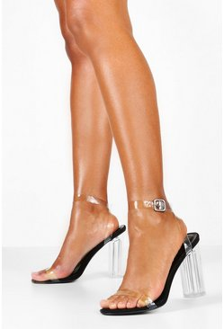 Womens Black Clear 2 Part Block Heels
