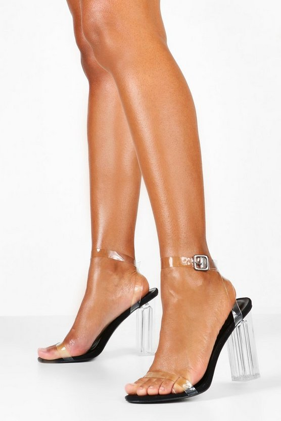 Clear 2 Part Block Heels