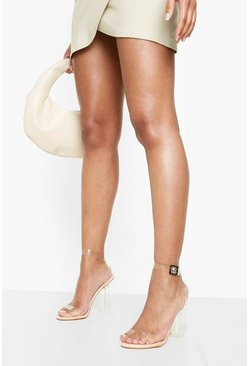 Talons blocs en 2 parties transparents, Couleur chair, Femme