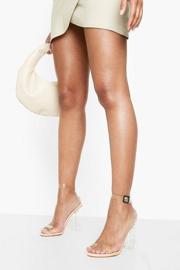 Womens Nude Clear 2 Part Block Heels