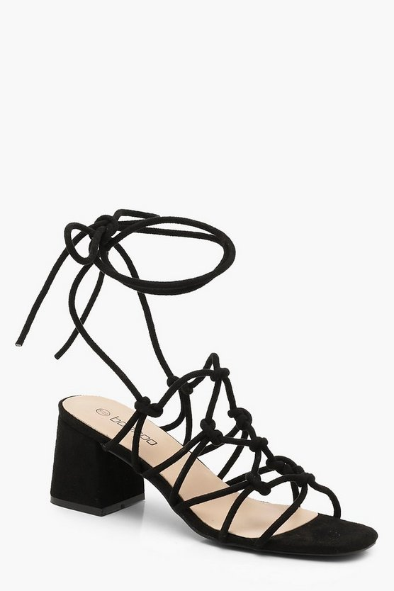 Black Cage Wrap Strap Low Block Heels