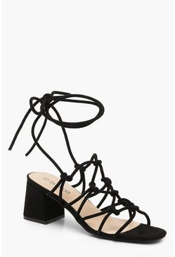 Womens Black Cage Wrap Strap Low Block Heels