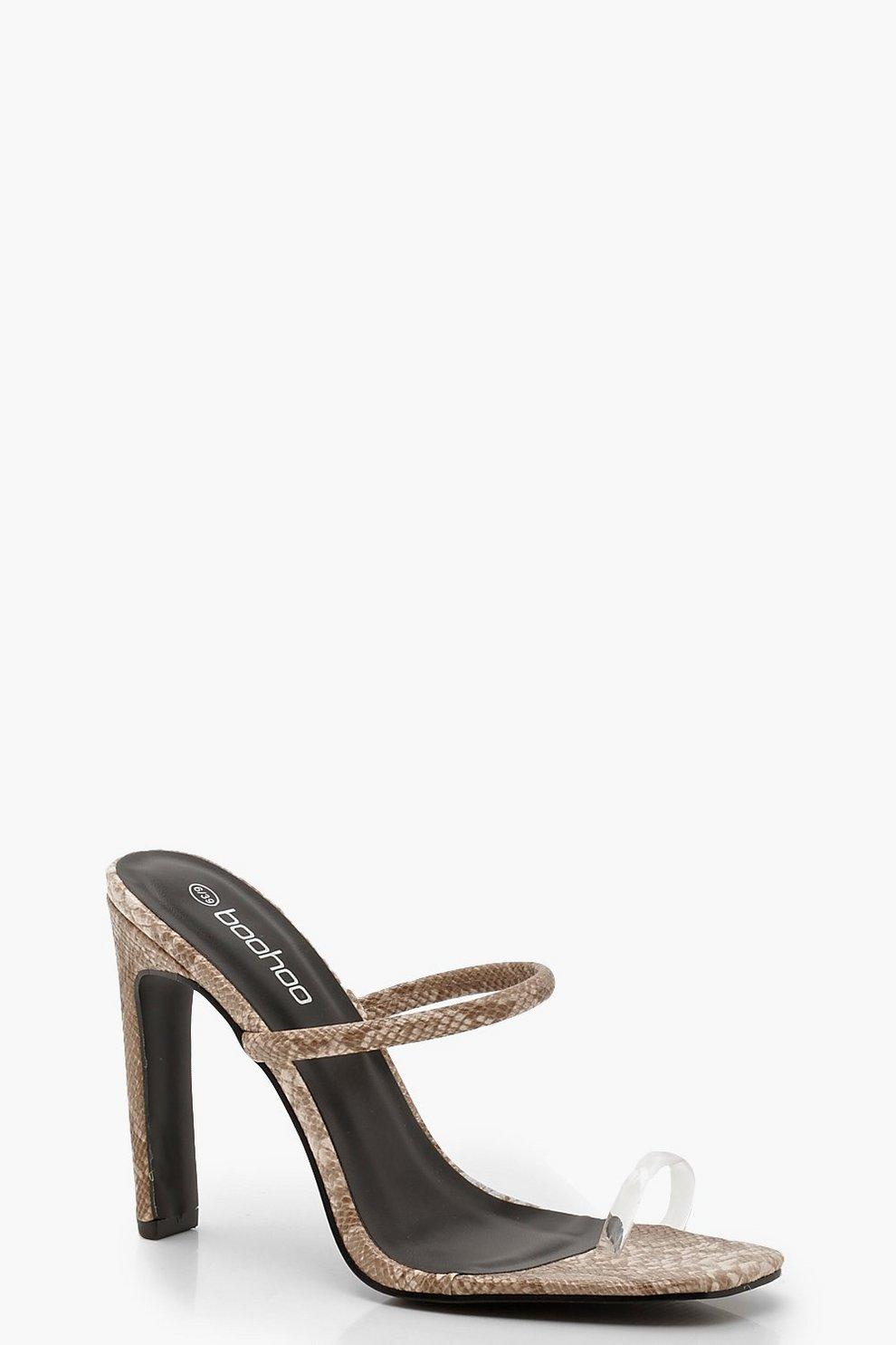 9e4ee22e1 Womens Beige Snake Toe Post Flat Heel Mules