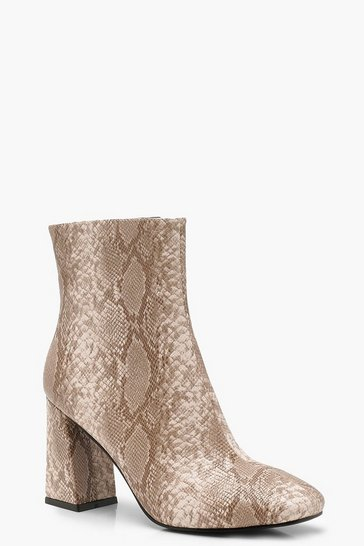 Womens Natural Snake Effect Flared Heel Shoe Boots