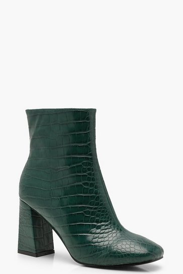 Womens Green Croc Flared Heel Shoe Boots