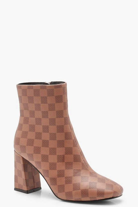 Contrast Check Zip Back Flare Heel Shoe Boots Contrast Check Zip Back Flare Heel Shoe Boots by Boohoo