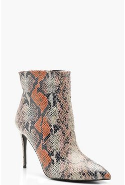 Mixed Snake Pointed Toe Stiletto Shoe Boots, Orange, Donna