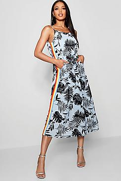 Tropical Print Rainbow Stripe Dress