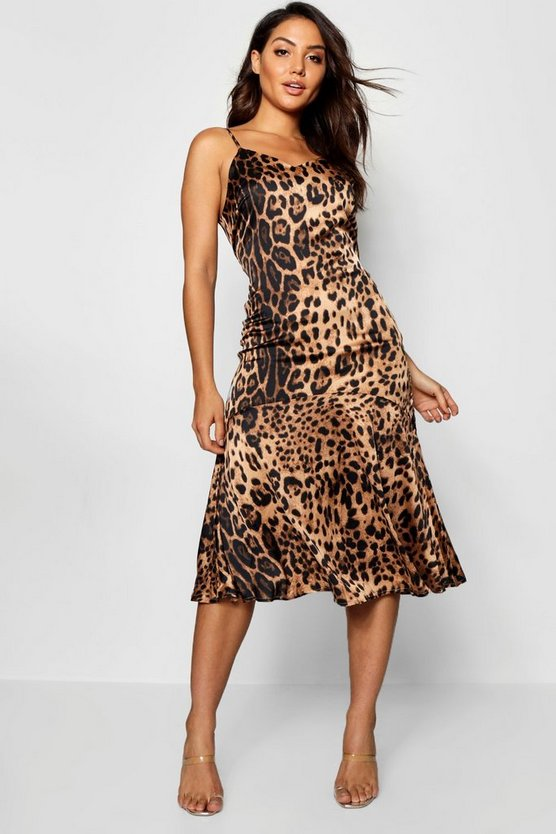 Womens Frill Hem Leopard Print Midaxi Dress