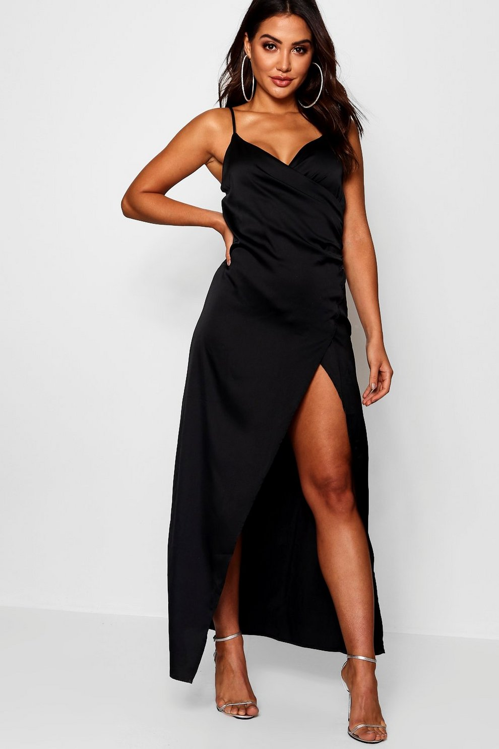 14622963d3a Womens Satin Wrap Detail Maxi Dress. Hover to zoom