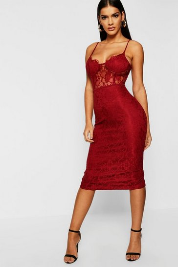 Womens Berry Lace Cup Detail Midi Dress