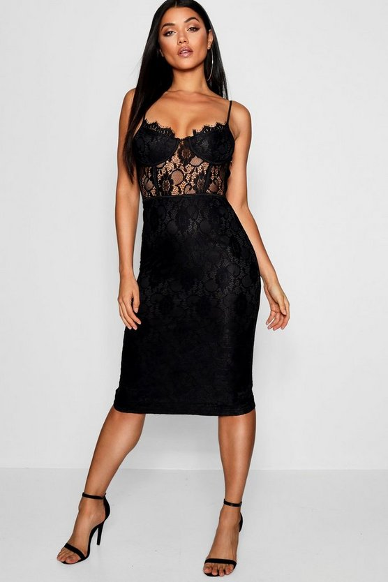Womens Black Lace Cup Detail Midi Dress