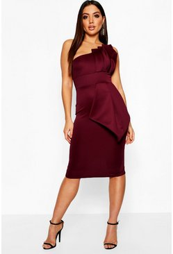 Berry One Shoulder Pleated Detail Midi Dress