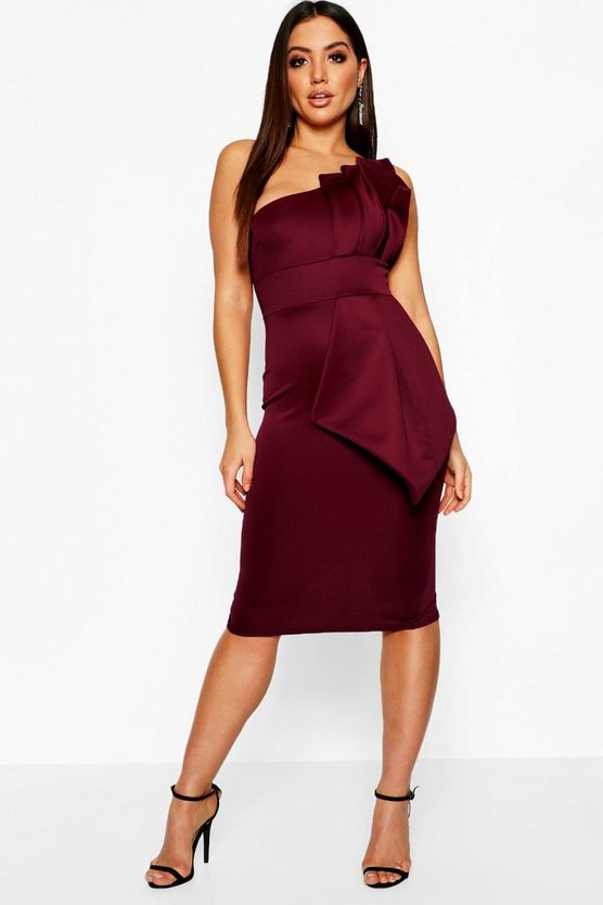 Womens Berry One Shoulder Pleated Detail Midi Dress