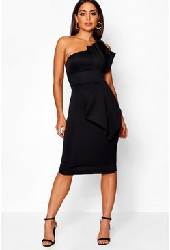 One Shoulder Pleated Detail Midi Dress, Black, Donna