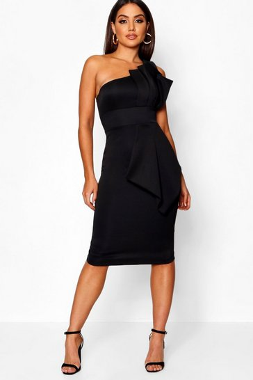 Black One Shoulder Pleated Detail Midi Dress
