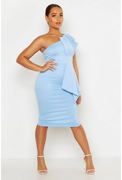 Womens Blue One Shoulder Pleated Detail Midi Dress