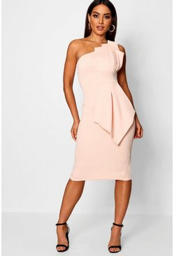 One Shoulder Pleated Detail Midi Dress, Blush, Donna