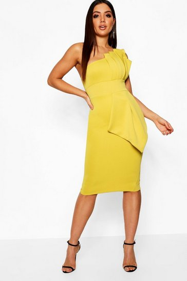 Chartreuse One Shoulder Pleated Detail Midi Dress