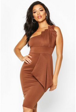 Womens Chocolate One Shoulder Pleated Detail Midi Dress