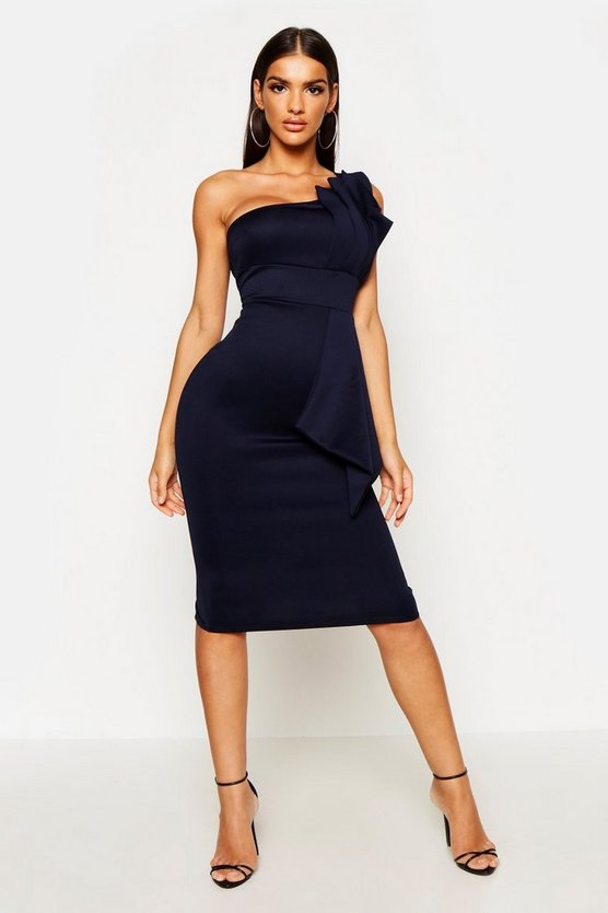 Womens Navy One Shoulder Pleated Detail Midi Dress
