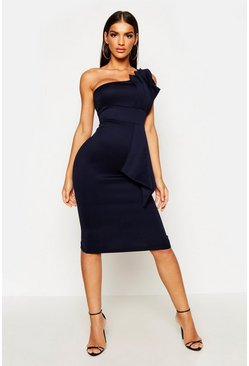 Navy One Shoulder Pleated Detail Midi Dress