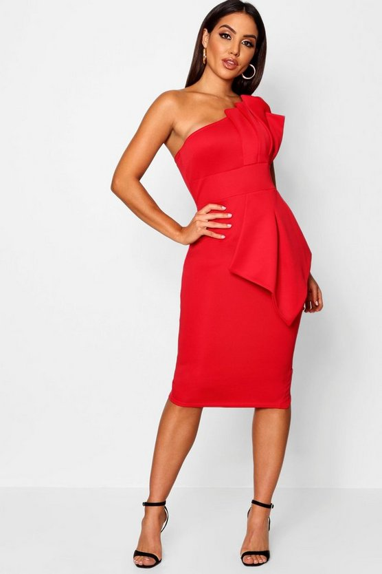 Womens Red One Shoulder Pleated Detail Midi Dress